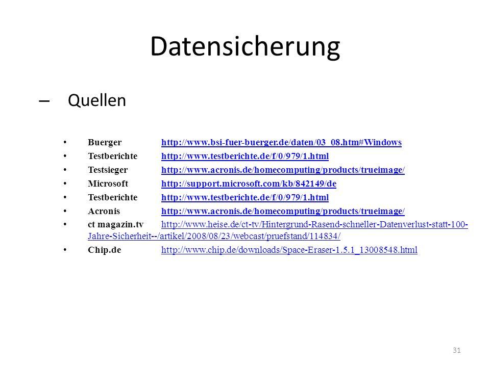 Datensicherung – Quellen Buergerhttp://www.bsi-fuer-buerger.de/daten/03_08.htm#Windowshttp://www.bsi-fuer-buerger.de/daten/03_08.htm#Windows Testberic