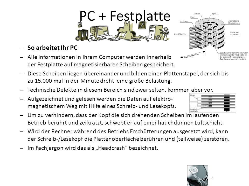 PC + Festplatte – So arbeitet Ihr PC – Alle Informationen in Ihrem Computer werden innerhalb der Festplatte auf magnetisierbaren Scheiben gespeichert.