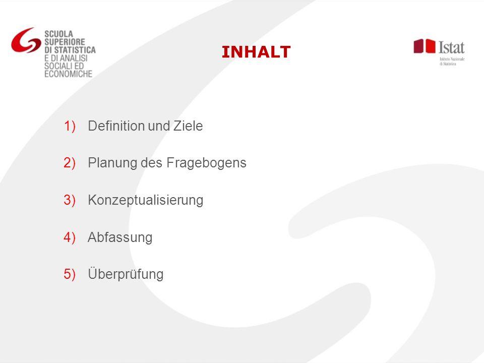INHALT 1) 1)Definition und Ziele 2) 2)Planung des Fragebogens 3) 3)Konzeptualisierung 4) 4)Abfassung 5) 5)Überprüfung