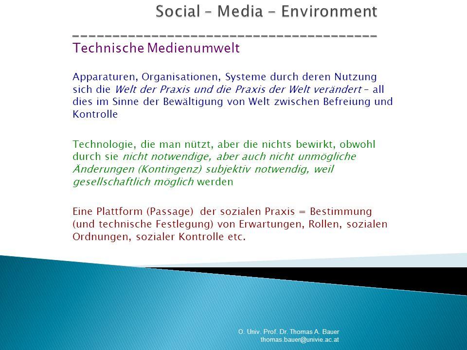 Technische Medienumwelt Apparaturen, Organisationen, Systeme durch deren Nutzung sich die Welt der Praxis und die Praxis der Welt verändert – all dies