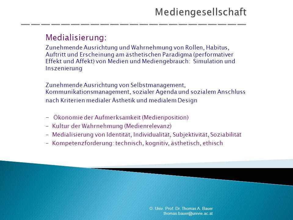 Medialisierung: Zunehmende Ausrichtung und Wahrnehmung von Rollen, Habitus, Auftritt und Erscheinung am ästhetischen Paradigma (performativer Effekt u