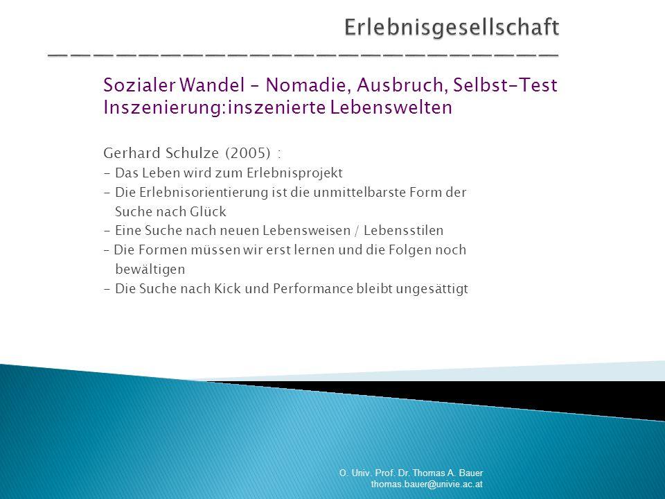 Sozialer Wandel – Nomadie, Ausbruch, Selbst-Test Inszenierung:inszenierte Lebenswelten Gerhard Schulze (2005) : - Das Leben wird zum Erlebnisprojekt -