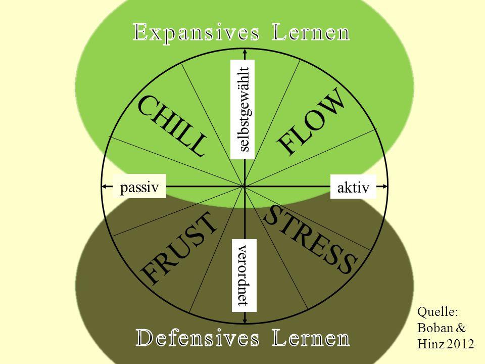 passiv aktiv selbstgewählt verordnet FLOW STRESS FRUST CHILL Quelle: Boban & Hinz 2012