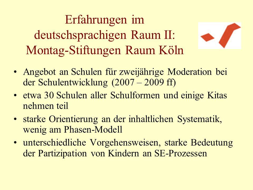 Erfahrungen im deutschsprachigen Raum II: Montag-Stiftungen Raum Köln Angebot an Schulen für zweijährige Moderation bei der Schulentwicklung (2007 – 2