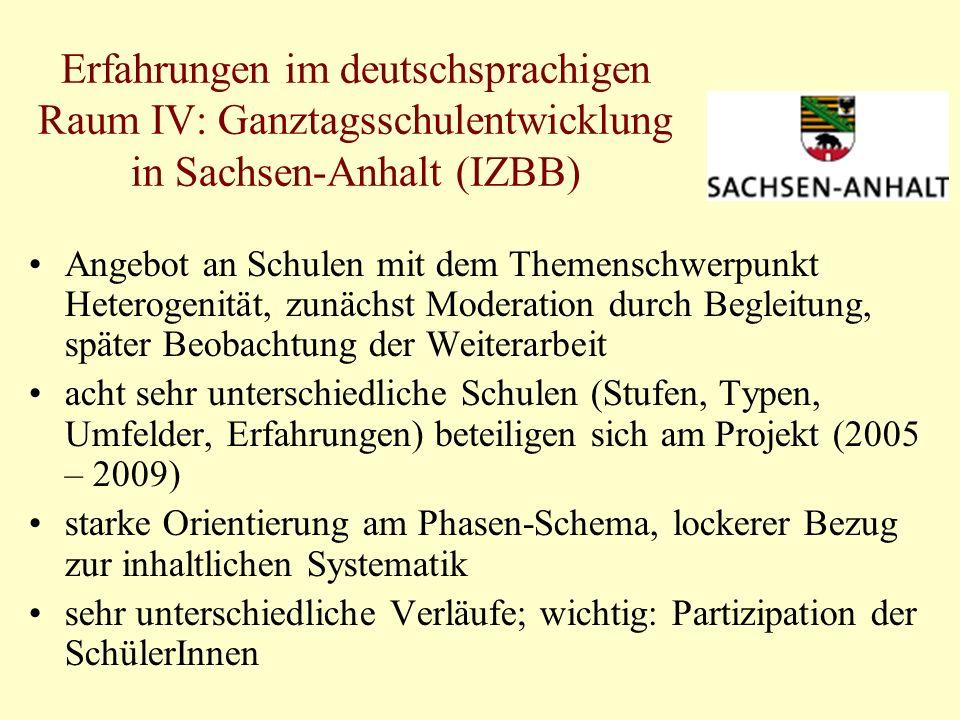 Erfahrungen im deutschsprachigen Raum IV: Ganztagsschulentwicklung in Sachsen-Anhalt (IZBB) Angebot an Schulen mit dem Themenschwerpunkt Heterogenität, zunächst Moderation durch Begleitung, später Beobachtung der Weiterarbeit acht sehr unterschiedliche Schulen (Stufen, Typen, Umfelder, Erfahrungen) beteiligen sich am Projekt (2005 – 2009) starke Orientierung am Phasen-Schema, lockerer Bezug zur inhaltlichen Systematik sehr unterschiedliche Verläufe; wichtig: Partizipation der SchülerInnen