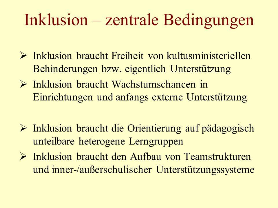 Inklusion – zentrale Bedingungen Inklusion braucht Freiheit von kultusministeriellen Behinderungen bzw. eigentlich Unterstützung Inklusion braucht Wac