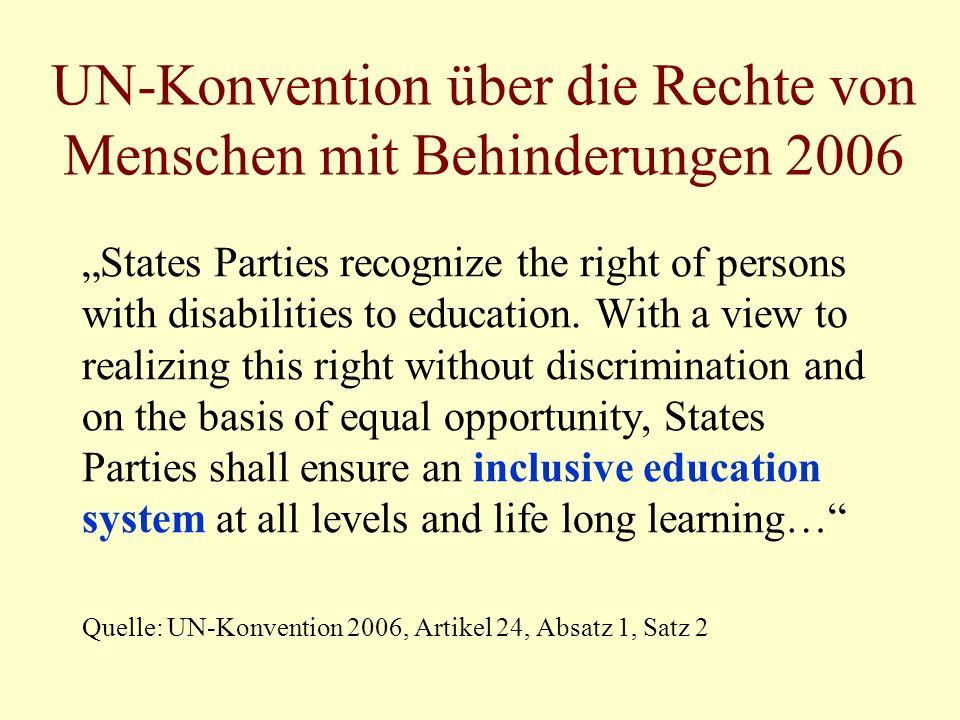 UN-Konvention über die Rechte von Menschen mit Behinderungen 2006 States Parties recognize the right of persons with disabilities to education. With a