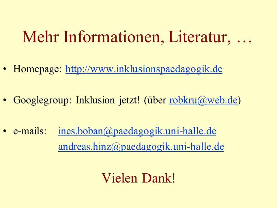 Mehr Informationen, Literatur, … Homepage: http://www.inklusionspaedagogik.dehttp://www.inklusionspaedagogik.de Googlegroup: Inklusion jetzt.