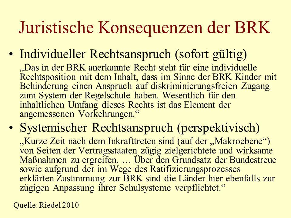 Juristische Konsequenzen der BRK Individueller Rechtsanspruch (sofort gültig) Das in der BRK anerkannte Recht steht für eine individuelle Rechtspositi