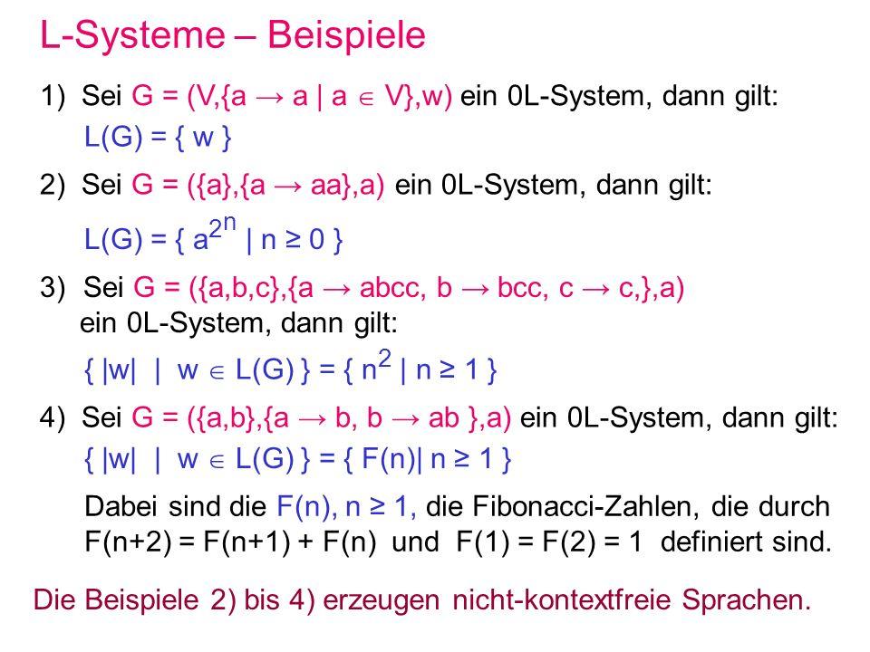 L-Systeme – Beispiele 1) Sei G = (V,{a a | a V},w) ein 0L-System, dann gilt: L(G) = { w } 2) Sei G = ({a},{a aa},a) ein 0L-System, dann gilt: L(G) = {