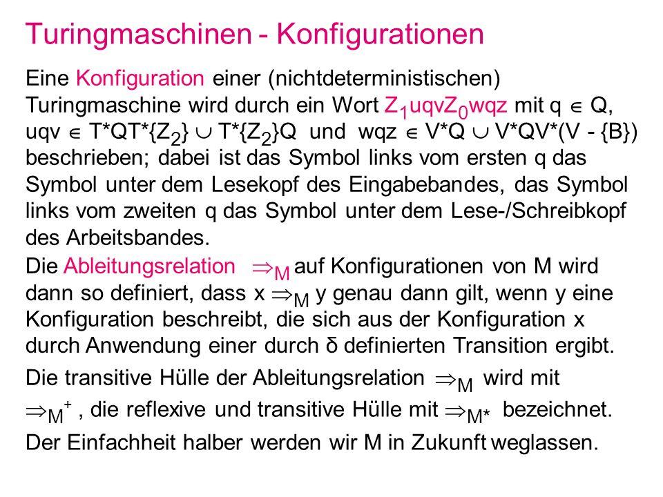 Turingmaschinen - Konfigurationen Eine Konfiguration einer (nichtdeterministischen) Turingmaschine wird durch ein Wort Z 1 uqvZ 0 wqz mit q Q, uqv T*Q