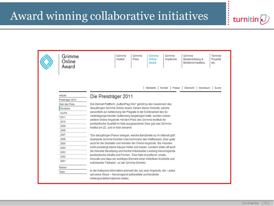 [ 10 ] Confidential Award winning collaborative initiatives