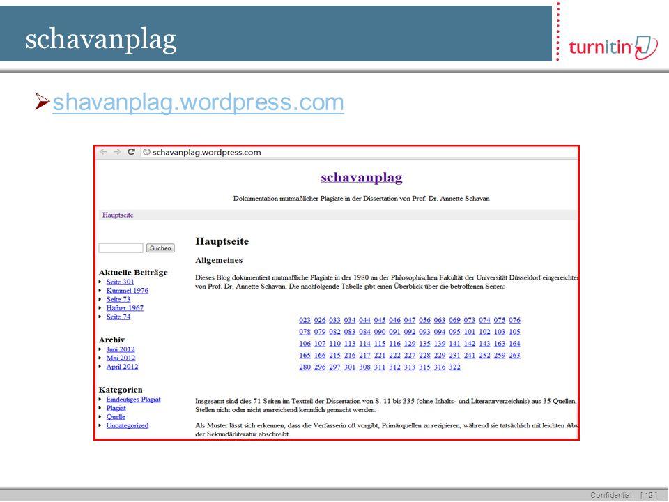 [ 12 ] Confidential schavanplag shavanplag.wordpress.com