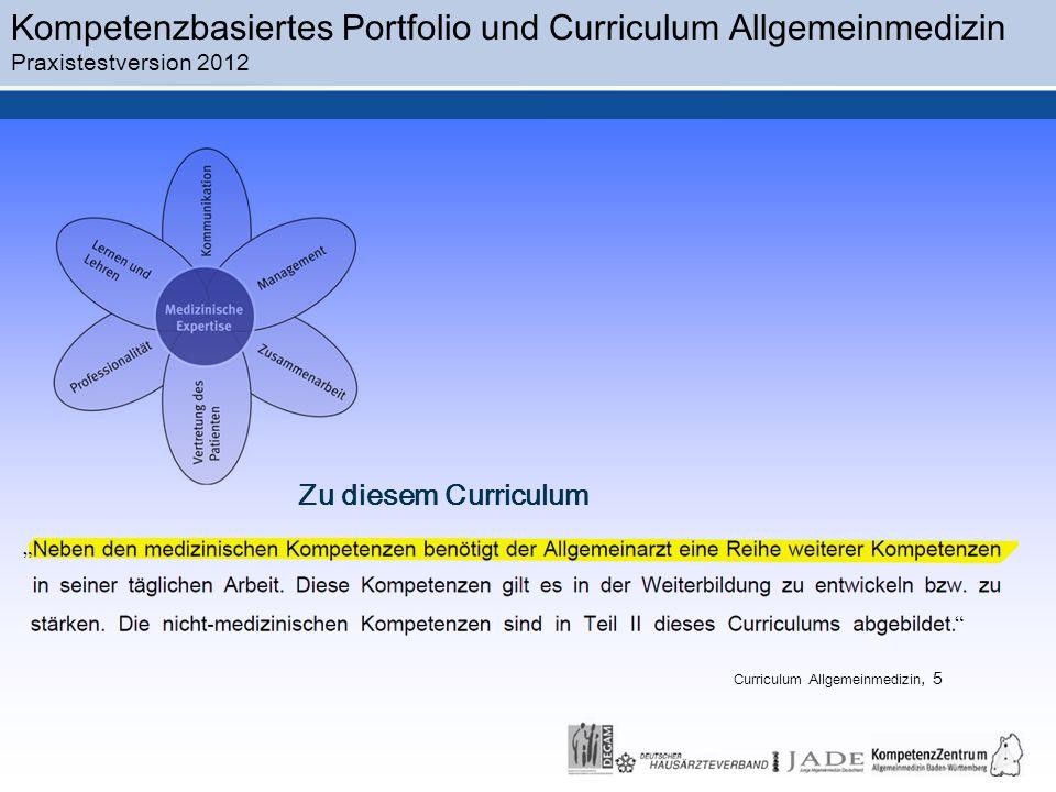 Kompetenzbasiertes Portfolio und Curriculum Allgemeinmedizin Praxistestversion 2012 Zu diesem Curriculum Curriculum Allgemeinmedizin, 5