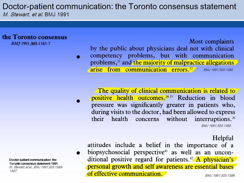 Doctor-patient communication: the Toronto consensus statement M. Stewart, et al. BMJ 1991 BMJ 1991;303:1385. BMJ 1991;303:1386. BMJ 1991;303:1385....