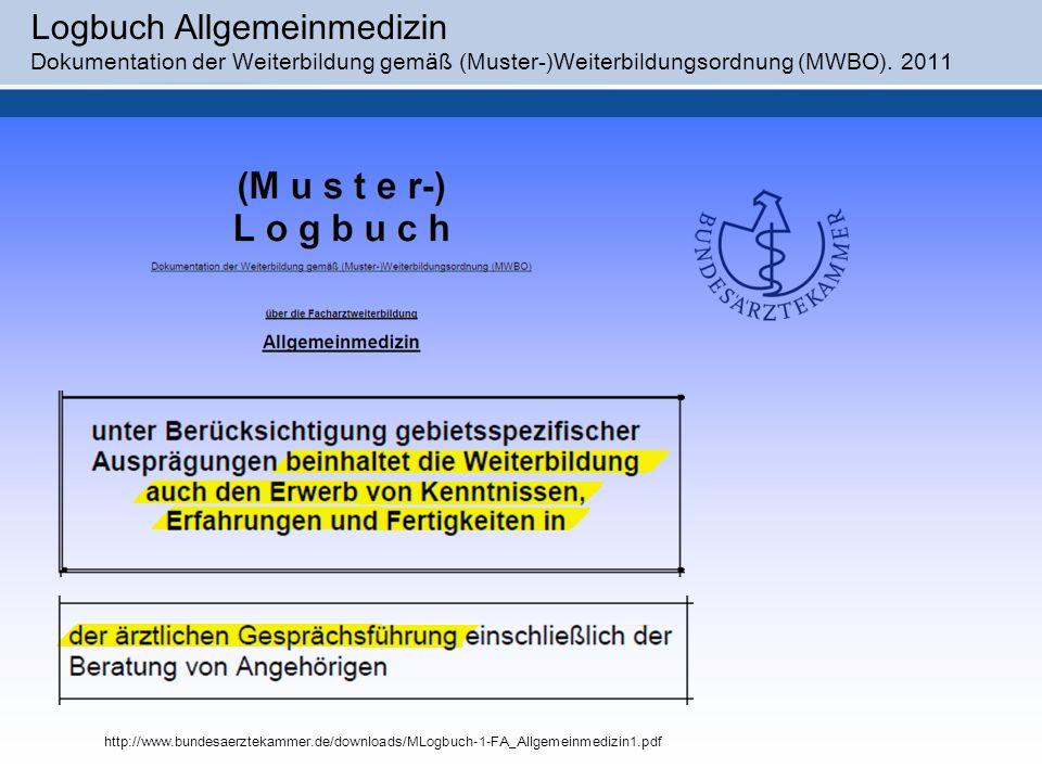Logbuch Allgemeinmedizin Dokumentation der Weiterbildung gemäß (Muster-)Weiterbildungsordnung (MWBO). 2011 http://www.bundesaerztekammer.de/downloads/