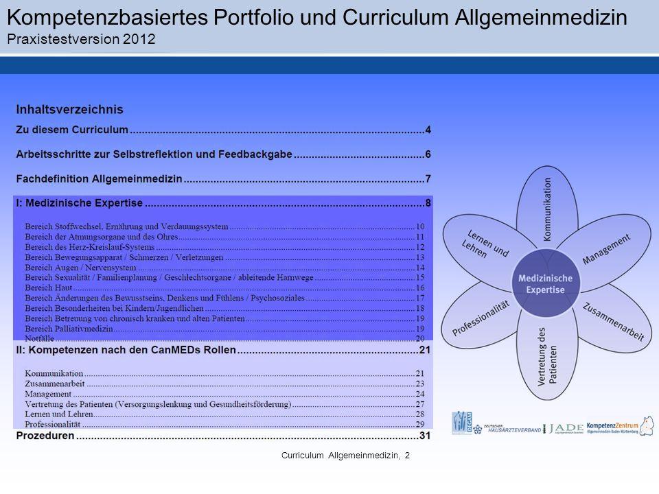 Kompetenzbasiertes Portfolio und Curriculum Allgemeinmedizin Praxistestversion 2012 Curriculum Allgemeinmedizin, 2