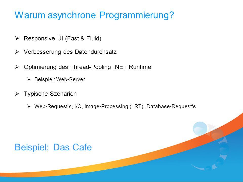 Warum asynchrone Programmierung? Responsive UI (Fast & Fluid) Verbesserung des Datendurchsatz Optimierung des Thread-Pooling.NET Runtime Beispiel: Web
