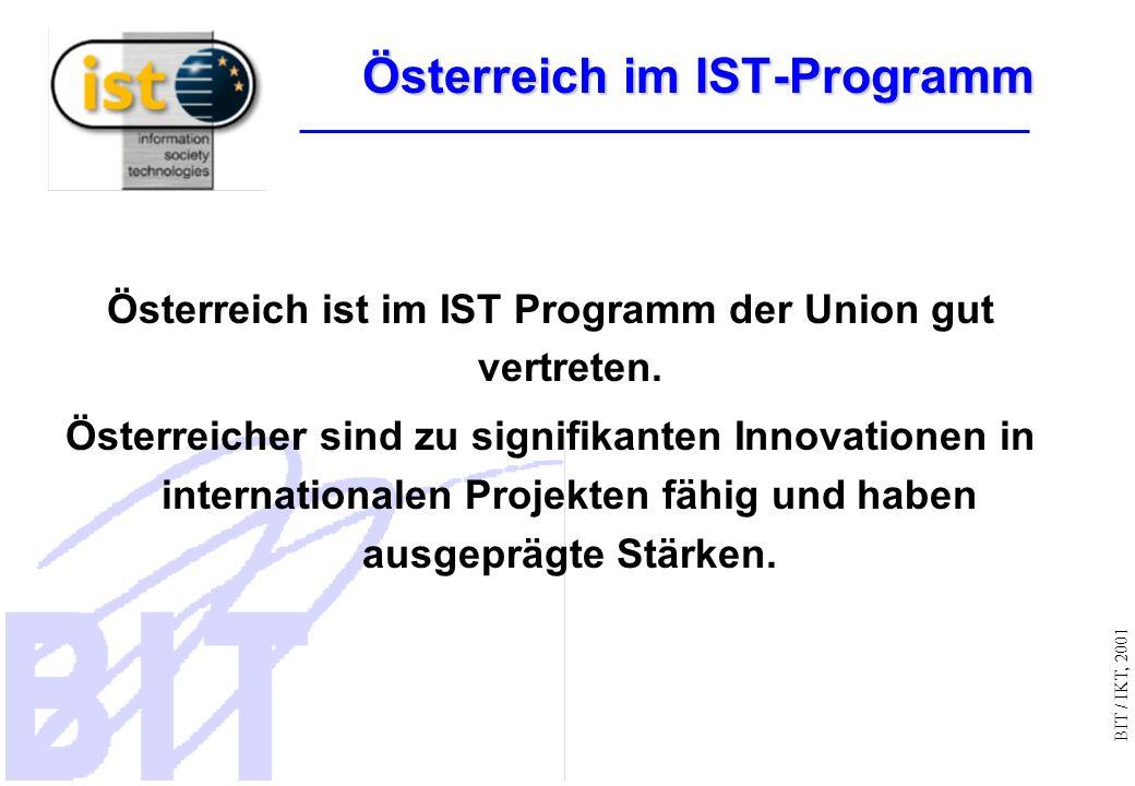 BIT / IKT, 2001 Österreich im IST-Programm Österreich ist im IST Programm der Union gut vertreten.
