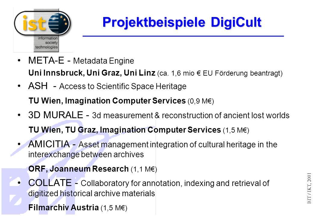 BIT / IKT, 2001 Projektbeispiele DigiCult META-E - Metadata Engine Uni Innsbruck, Uni Graz, Uni Linz (ca.