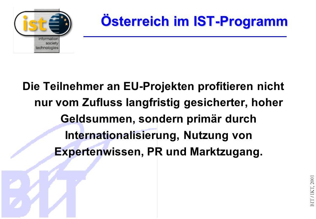 BIT / IKT, 2001 Österreich im IST-Programm Die Teilnehmer an EU-Projekten profitieren nicht nur vom Zufluss langfristig gesicherter, hoher Geldsummen, sondern primär durch Internationalisierung, Nutzung von Expertenwissen, PR und Marktzugang.