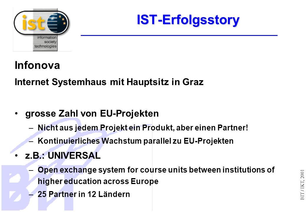 BIT / IKT, 2001 IST-Erfolgsstory Infonova Internet Systemhaus mit Hauptsitz in Graz grosse Zahl von EU-Projekten –Nicht aus jedem Projekt ein Produkt, aber einen Partner.