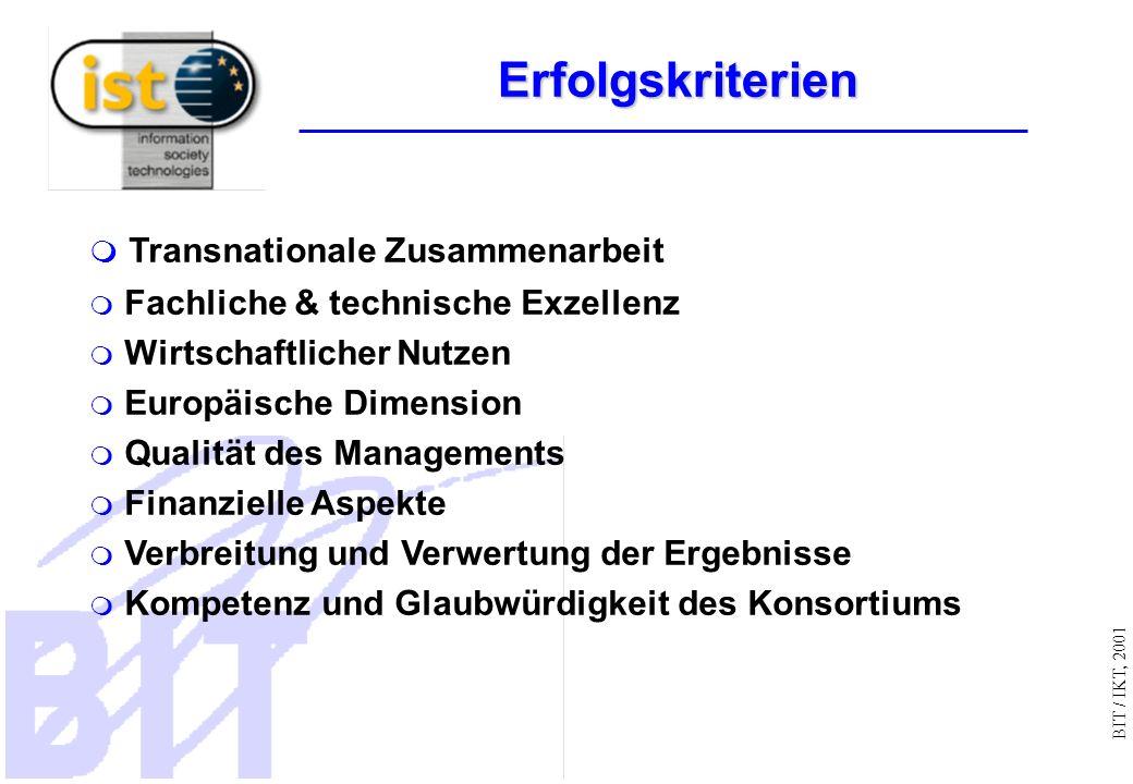 BIT / IKT, 2001 Transnationale Zusammenarbeit Fachliche & technische Exzellenz Wirtschaftlicher Nutzen Europäische Dimension Qualität des Managements Finanzielle Aspekte Verbreitung und Verwertung der Ergebnisse Kompetenz und Glaubwürdigkeit des Konsortiums Erfolgskriterien Erfolgskriterien