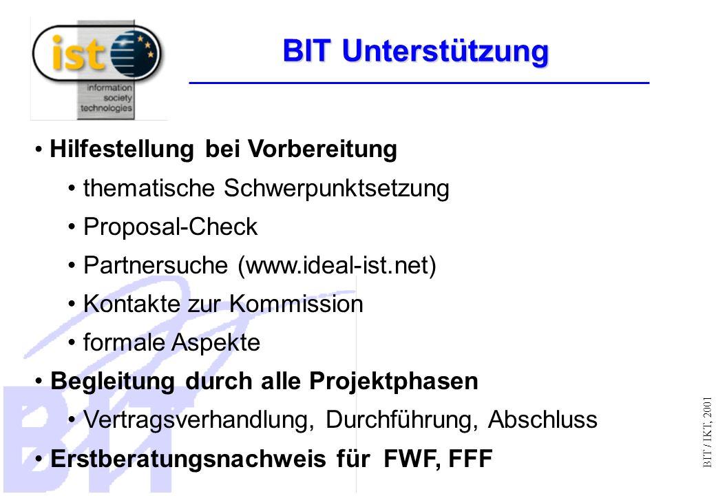 BIT / IKT, 2001 Hilfestellung bei Vorbereitung thematische Schwerpunktsetzung Proposal-Check Partnersuche (www.ideal-ist.net) Kontakte zur Kommission formale Aspekte Begleitung durch alle Projektphasen Vertragsverhandlung, Durchführung, Abschluss Erstberatungsnachweis für FWF, FFF BIT Unterstützung