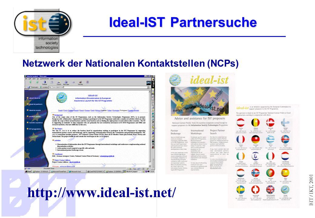 BIT / IKT, 2001 http://www.ideal-ist.net/ Netzwerk der Nationalen Kontaktstellen (NCPs) Ideal-IST Partnersuche
