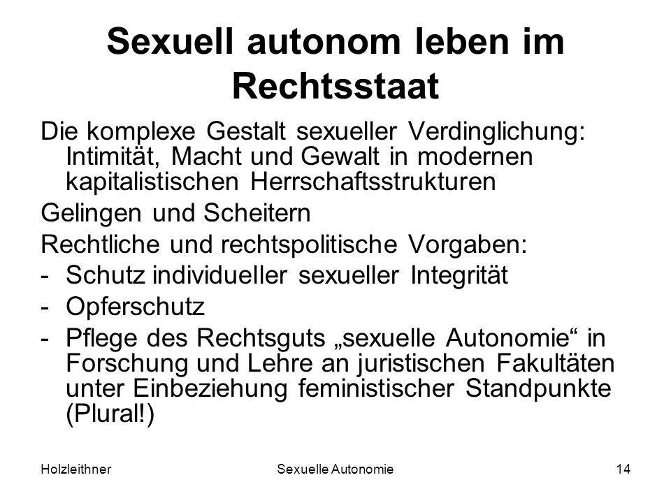 HolzleithnerSexuelle Autonomie14 Sexuell autonom leben im Rechtsstaat Die komplexe Gestalt sexueller Verdinglichung: Intimität, Macht und Gewalt in mo