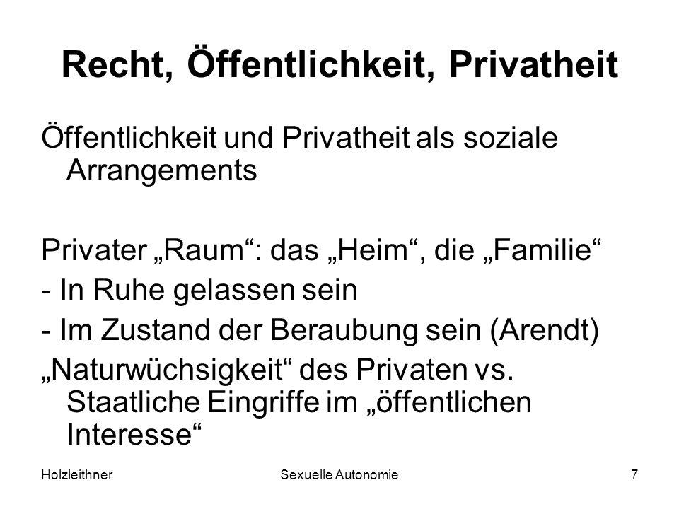 HolzleithnerSexuelle Autonomie7 Recht, Öffentlichkeit, Privatheit Öffentlichkeit und Privatheit als soziale Arrangements Privater Raum: das Heim, die
