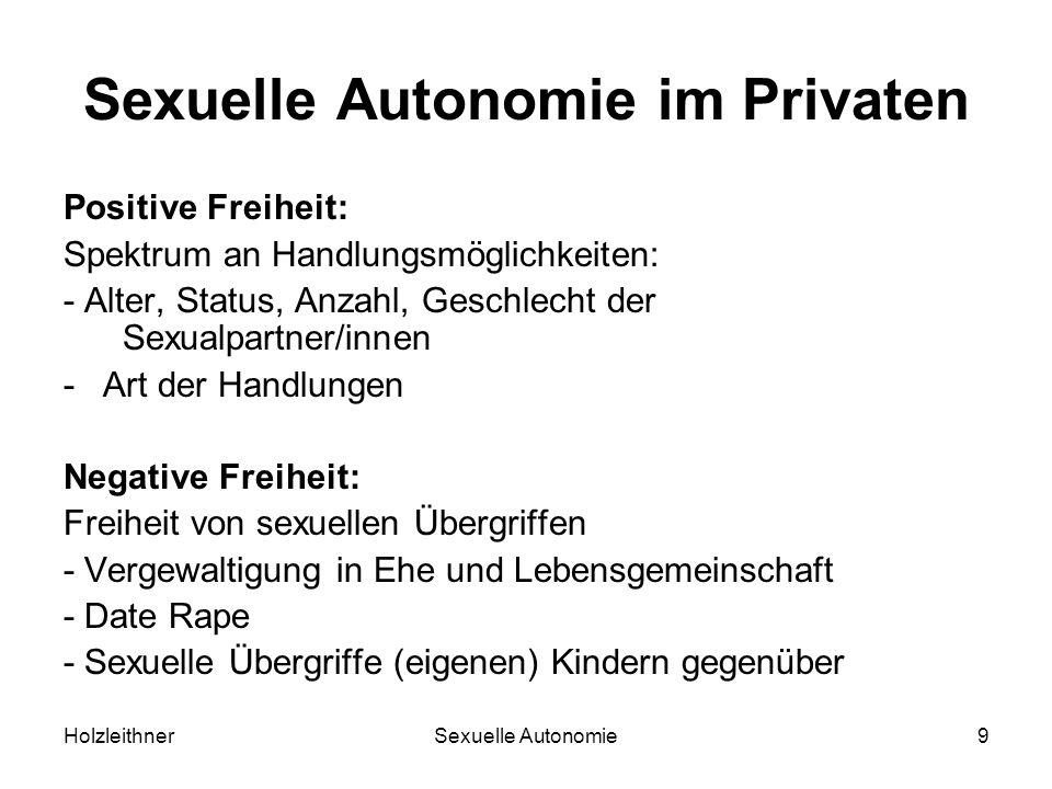 HolzleithnerSexuelle Autonomie9 Sexuelle Autonomie im Privaten Positive Freiheit: Spektrum an Handlungsmöglichkeiten: - Alter, Status, Anzahl, Geschle