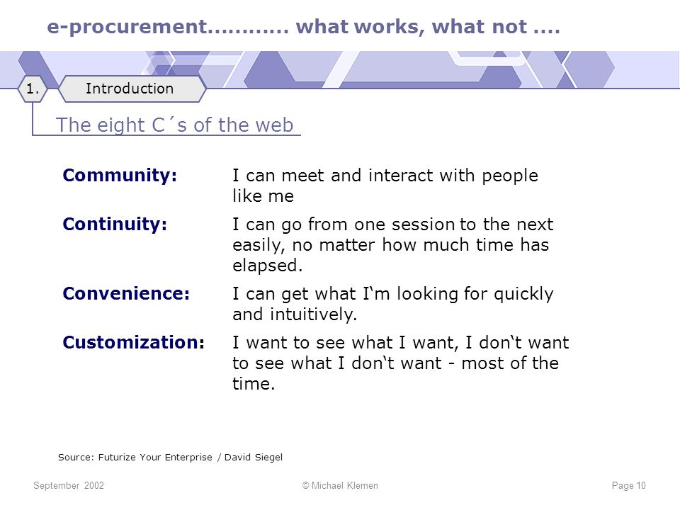 e-procurement............ what works, what not.... September 2002© Michael KlemenPage 10 Community:I can meet and interact with people like me Continu