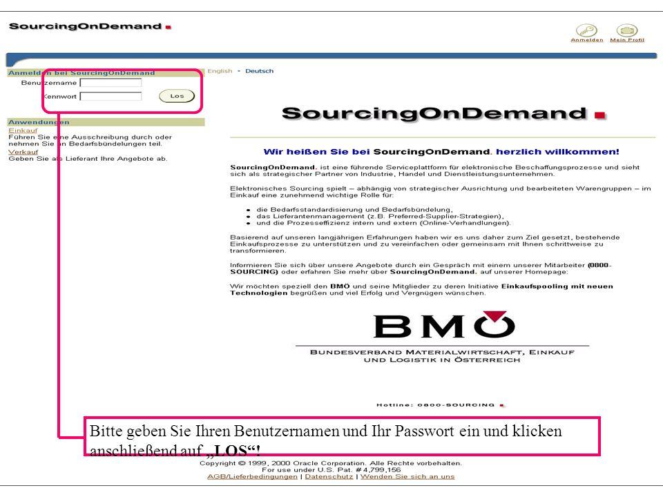 e-procurement............ what works, what not.... September 2002© Michael KlemenPage 26 Bitte geben Sie Ihren Benutzernamen und Ihr Passwort ein und