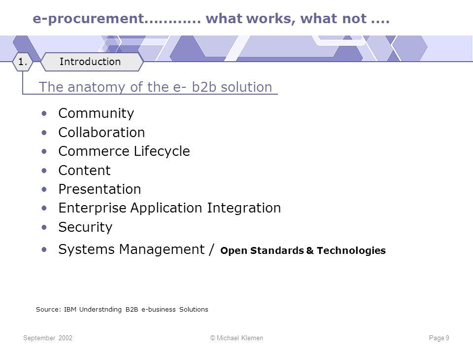 e-procurement............ what works, what not.... September 2002© Michael KlemenPage 9 Community Collaboration Commerce Lifecycle Content Presentatio