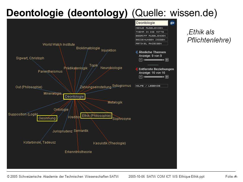 © 2005 Schweizerische Akademie der Technischen Wissenschaften SATW2005-10-06 SATW COM ICT WS Ethique Ethik.ppt Folie 3 Deontologie (deontology) (Quell