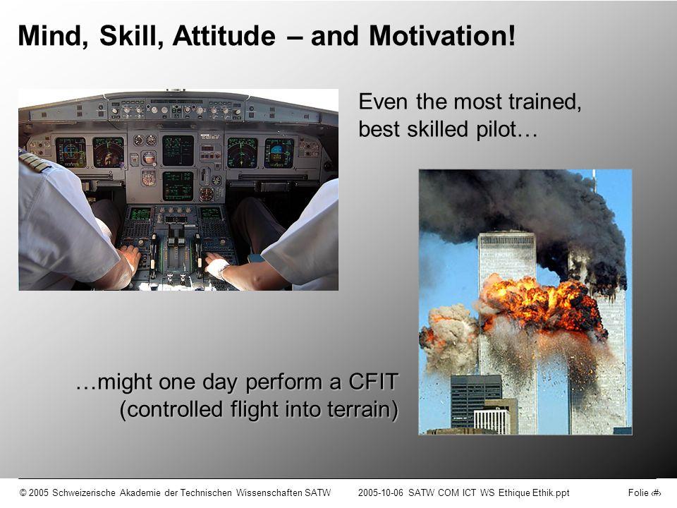 © 2005 Schweizerische Akademie der Technischen Wissenschaften SATW2005-10-06 SATW COM ICT WS Ethique Ethik.ppt Folie 9 Motivation (motivation) (Quelle: wissen.de) to use not to use to abuse ICT in an information society