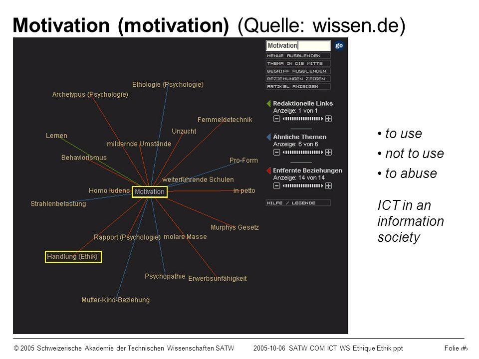 © 2005 Schweizerische Akademie der Technischen Wissenschaften SATW2005-10-06 SATW COM ICT WS Ethique Ethik.ppt Folie 9 Motivation (motivation) (Quelle