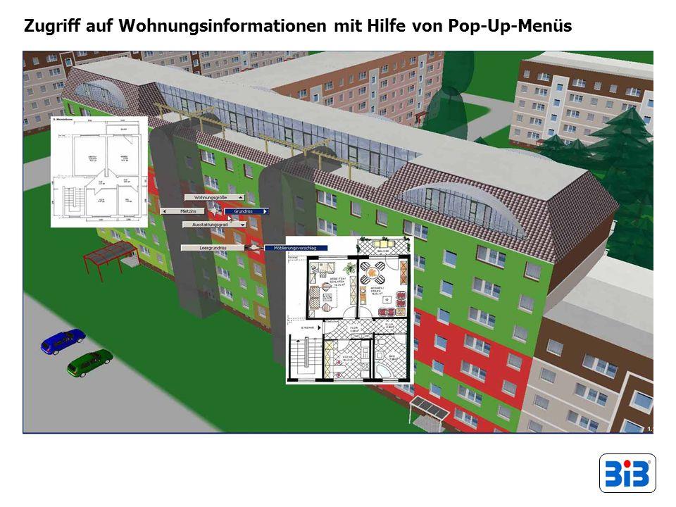 Zugriff auf Wohnungsinformationen mit Hilfe von Pop-Up-Menüs