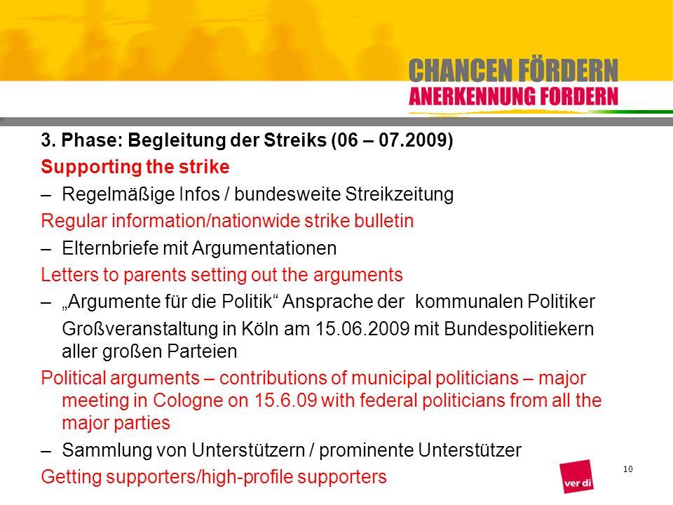 10 3. Phase: Begleitung der Streiks (06 – 07.2009) Supporting the strike –Regelmäßige Infos / bundesweite Streikzeitung Regular information/nationwide