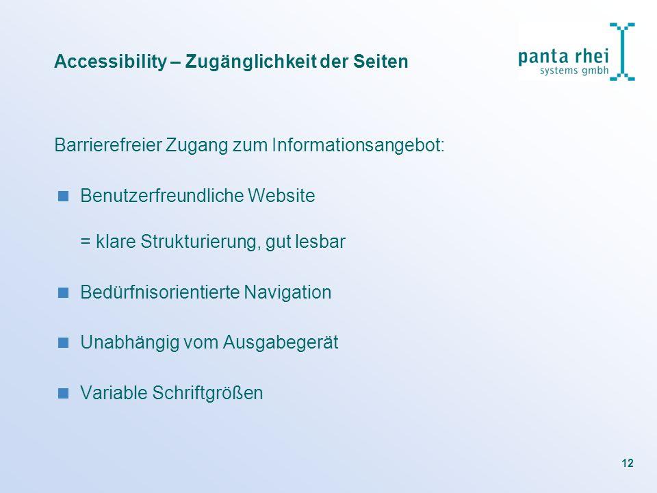 12 Barrierefreier Zugang zum Informationsangebot: Benutzerfreundliche Website = klare Strukturierung, gut lesbar Bedürfnisorientierte Navigation Unabh