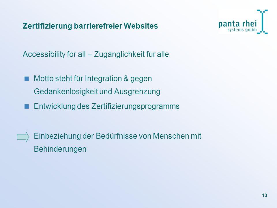 13 Zertifizierung barrierefreier Websites Accessibility for all – Zugänglichkeit für alle Motto steht für Integration & gegen Gedankenlosigkeit und Au