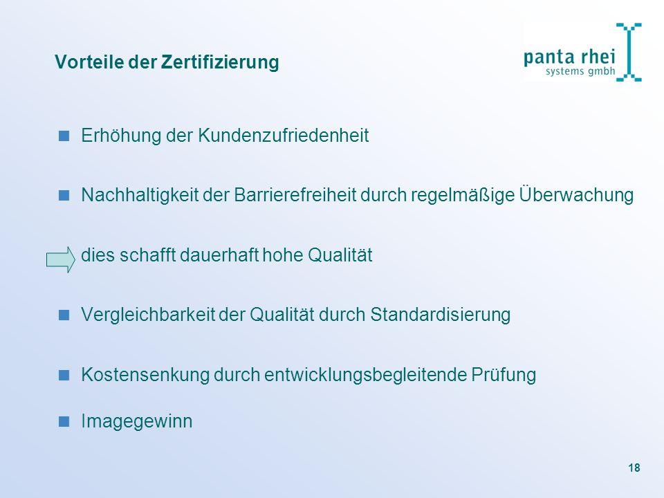 18 Erhöhung der Kundenzufriedenheit Nachhaltigkeit der Barrierefreiheit durch regelmäßige Überwachung dies schafft dauerhaft hohe Qualität Vergleichba