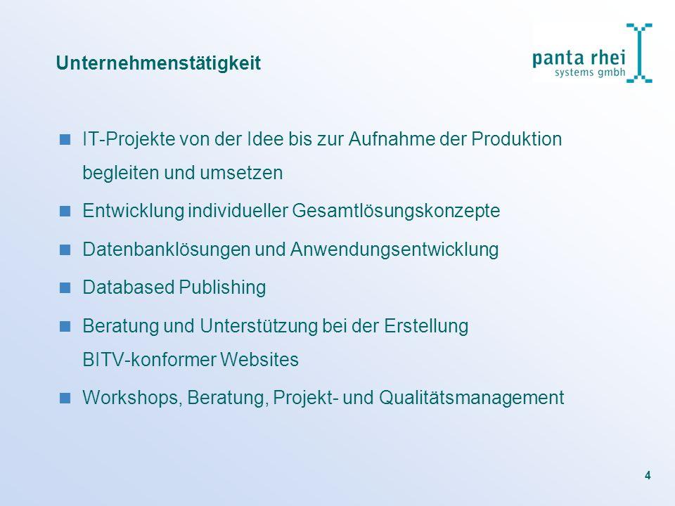 4 Unternehmenstätigkeit IT-Projekte von der Idee bis zur Aufnahme der Produktion begleiten und umsetzen Entwicklung individueller Gesamtlösungskonzept