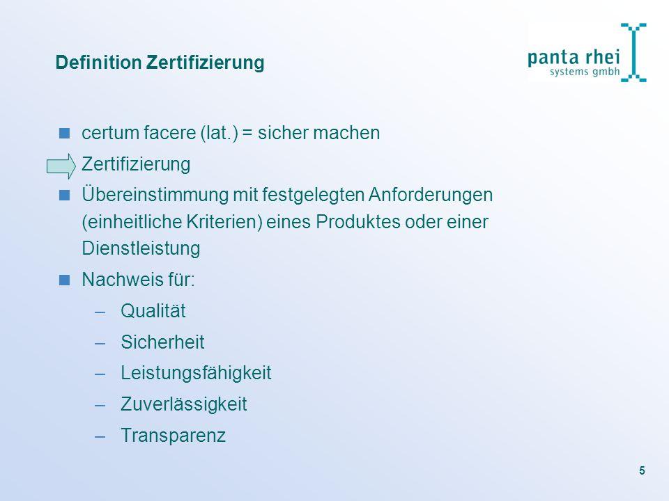 5 Definition Zertifizierung certum facere (lat.) = sicher machen Zertifizierung Übereinstimmung mit festgelegten Anforderungen (einheitliche Kriterien