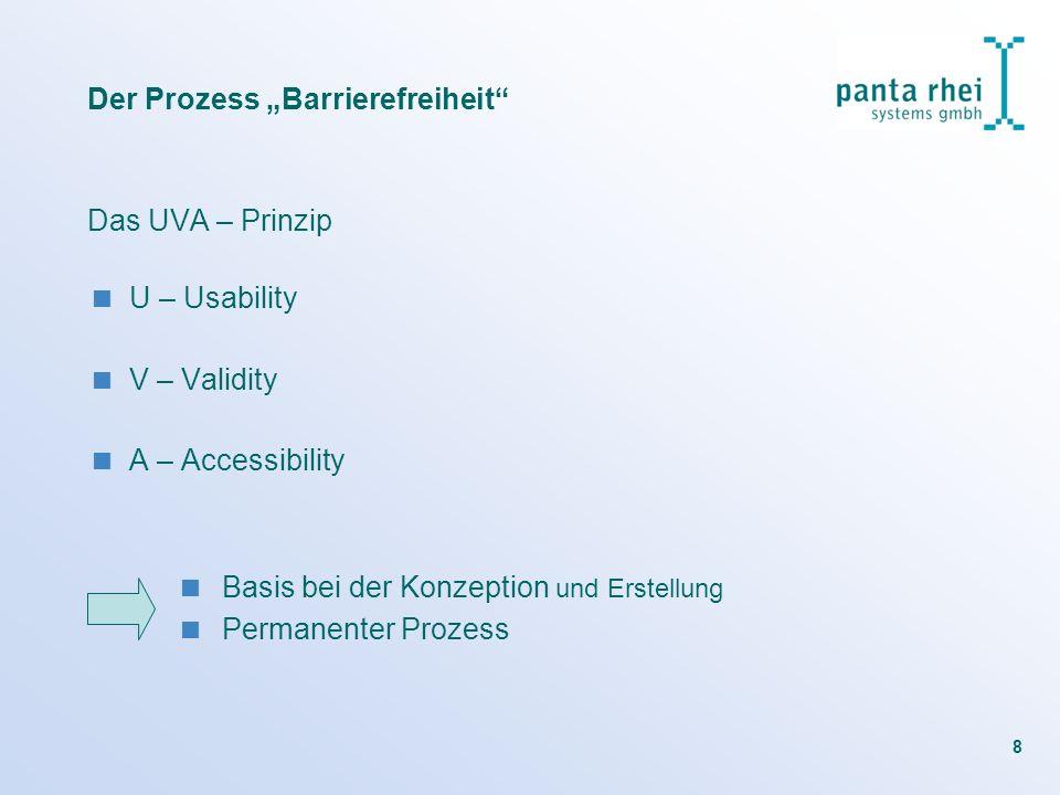 8 Der Prozess Barrierefreiheit Das UVA – Prinzip U – Usability V – Validity A – Accessibility Basis bei der Konzeption und Erstellung Permanenter Proz