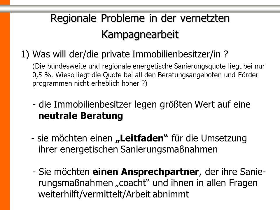 Regionale Probleme in der vernetzten Kampagnearbeit 1) Was will der/die private Immobilienbesitzer/in ? (Die bundesweite und regionale energetische Sa