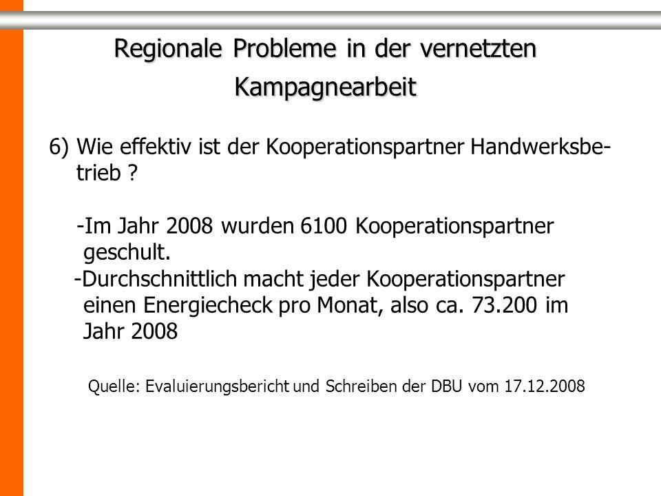 Regionale Probleme in der vernetzten Kampagnearbeit 6) Wie effektiv ist der Kooperationspartner Handwerksbe- trieb ? -Im Jahr 2008 wurden 6100 Koopera