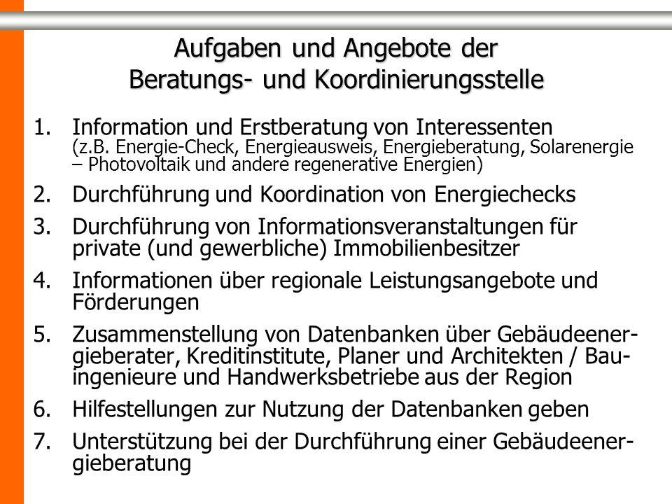 Aufgaben und Angebote der Beratungs- und Koordinierungsstelle 1.Information und Erstberatung von Interessenten (z.B. Energie-Check, Energieausweis, En