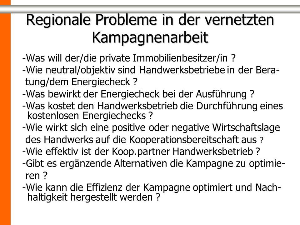 Regionale Probleme in der vernetzten Kampagnenarbeit -Was will der/die private Immobilienbesitzer/in ? -Wie neutral/objektiv sind Handwerksbetriebe in